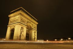 Arc de Triomphe at night Royalty Free Stock Photography