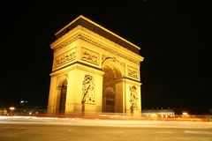 Arc de triomphe at night. Arc de triomphe, Paris, France royalty free stock images