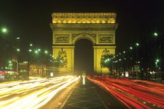 Arc de Triomphe at night Royalty Free Stock Images