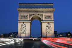 Arc de Triomphe by night Royalty Free Stock Photos