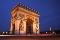 Arc de Triomphe at Night. Arc de triomphe, Paris, France Royalty Free Stock Image