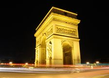 Arc de Triomphe Night Stock Photos
