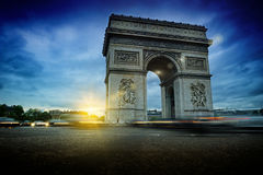 Arc de Triomphe at night. Beautiful sunset over Place de l'Etoile, Paris Stock Photography