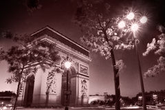 Arc de Triomphe at Night in black and white taken in Paris Franc Stock Photography