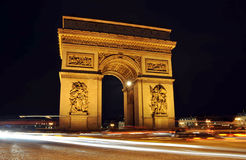 The Arc de Triomphe at night, Paris. The Arc de Triomphe at night in Paris, France Royalty Free Stock Images