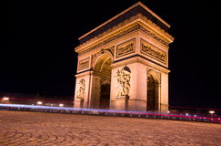 Arc de triomphe at night, Paris Stock Photos