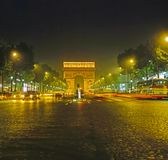 Arc de Triomphe at night in  Paris Stock Photography
