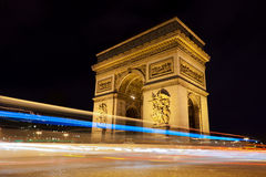 Arc de Triomphe by night in Paris, France Royalty Free Stock Photo