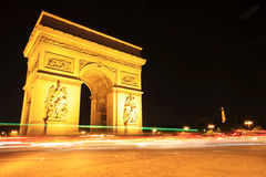 Arc de triomphe at Night, Paris Royalty Free Stock Images