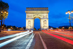 Arc de Triomphe at night in Paris, France Stock Image