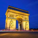 Arc de Triomphe at Night, Paris Stock Image