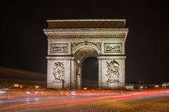 Arc de Triomphe at night in Paris Stock Image