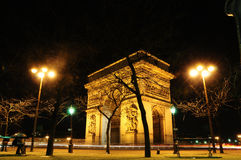 The Arc de Triomphe at night, Paris, France Stock Images