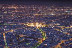 Arc de Triomphe at Night, Paris. Night time view of Arc de Triomphe, Paris Royalty Free Stock Images