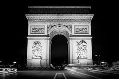 Arc de triomphe. Night shoot long exposure black and white Stock Image
