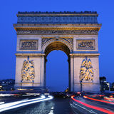 Arc de Triomphe by night square. View of Arc de Triomphe by night, Paris Royalty Free Stock Photos