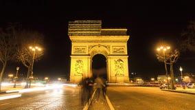 Arc de Triomphe night Timelapse stock video