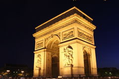 Arc de Triomphe. Night view Royalty Free Stock Photos
