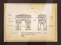 Arc De Triomphe. Old Style Architectural Technical Drawing of Arc De Triomphe, Paris Royalty Free Stock Image