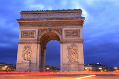 Arc de Triomphe på skymning, Paris Royaltyfri Bild