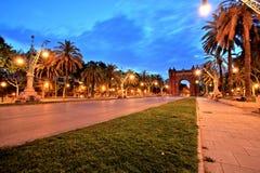 Arc de Triomphe Parc de Λα Ciutadella στο σούρουπο, Βαρκελώνη Στοκ φωτογραφία με δικαίωμα ελεύθερης χρήσης