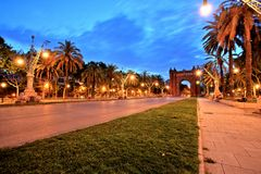 Arc de Triomphe in Parc de la Ciutadella at dusk, Barcelona. Spain Royalty Free Stock Photography