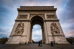 Arc de Triomphe, in Parijs, Frankrijk Stock Afbeeldingen