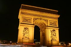 Arc de triomphe - Paris. The Arc de triomphe and place de l'etoile in Paris stock photo