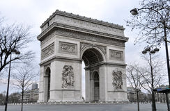 The Arc de Triomphe in Paris. The Arc de Triomphe a sunday morning in winter, Paris, France Royalty Free Stock Photo