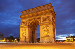 Arc de Triomphe in Paris. At night Stock Images