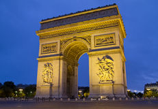 Arc de Triomphe Paris. France at night Royalty Free Stock Photos