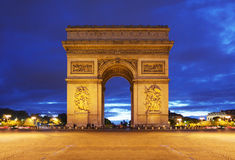 Arc de Triomphe in Paris. At night Royalty Free Stock Images