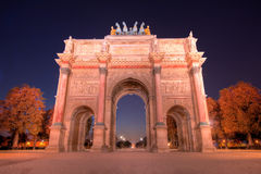 Arc de Triomphe Paris. Evening traffic on Champs-Elysees in front of Arc de Triomphe (Paris, France Stock Photo