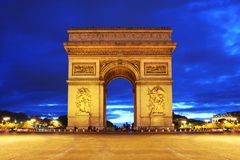 Arc de Triomphe in Paris. At night Royalty Free Stock Photography