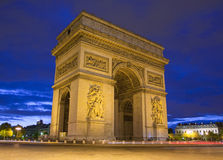 Arc de Triomphe in Paris. At night Royalty Free Stock Photos