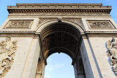 Arc de Triomphe Paris France. Low angle Royalty Free Stock Photography