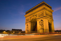 Arc de Triomphe Paris. Twilight view of the Arc de Triomphe aka Arch of Triumph, Paris, France Stock Images