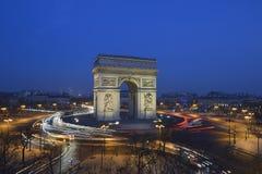Arc de Triomphe - Paris. Aerial view of the Arc de Triomphe in Paris taken during the morning blue hour Stock Image