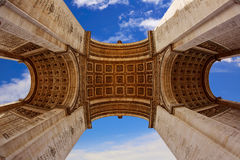 Arc de Triomphe in Paris Arch of Triumph. Low angle view at France Royalty Free Stock Photo