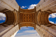 Arc de Triomphe in Paris Arch of Triumph. Low angle view at France Stock Photography