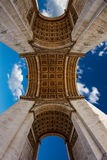 Arc de Triomphe in Paris Arch of Triumph. Low angle view at France Royalty Free Stock Images