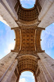 Arc de Triomphe in Paris Arch of Triumph. Low angle view at France Royalty Free Stock Photos