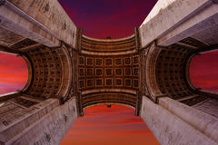 Arc de Triomphe in Paris Arch of Triumph. Low angle view sunset at France Stock Photography