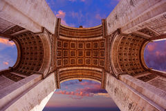 Arc de Triomphe in Paris Arch of Triumph. Low angle view sunset at France Stock Image