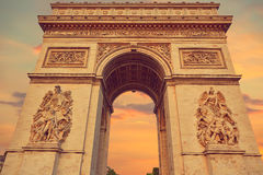 Arc de Triomphe in Paris Arch of Triumph. Sunset at France Royalty Free Stock Photography