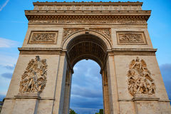 Arc de Triomphe in Paris Arch of Triumph. Sunset at France Royalty Free Stock Images