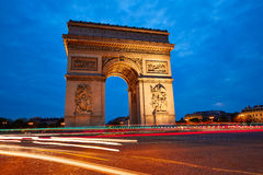Arc de Triomphe in Paris Arch of Triumph. Sunset at France Stock Images