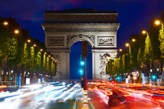 Arc de Triomphe in Paris Arch of Triumph. Sunset at France Stock Photo