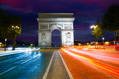 Arc de Triomphe in Paris Arch of Triumph. Sunset at France Stock Photography