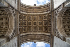 Arc de Triomphe in Paris. The Arc de Triomphe in Paris as seen from under the arc Stock Photography